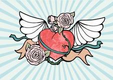 Corazón con las alas y las rosas stock de ilustración