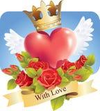Corazón con las alas y las rosas y una bandera con amor Imágenes de archivo libres de regalías