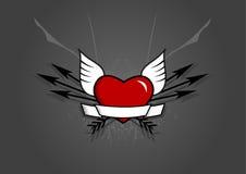 Corazón con las flechas en fondo gris. Arte del vector Imagen de archivo libre de regalías