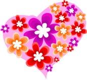 Corazón con las flores Fotografía de archivo libre de regalías