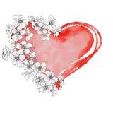 Corazón con las flores stock de ilustración