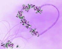 Corazón con las flores violetas, ilustración libre illustration