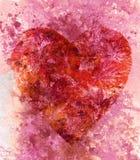 Corazón con las hojas, acuarela Fotografía de archivo libre de regalías
