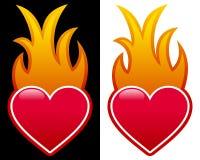 Corazón con las llamas Foto de archivo libre de regalías