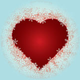 Corazón con los copos de nieve Fotografía de archivo libre de regalías
