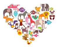 Corazón con los iconos animales del vector Fotografía de archivo libre de regalías