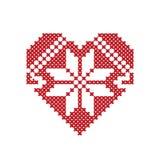 Corazón con los ornamentos hechos fuera de la cruz Día del `s de la tarjeta del día de San Valentín Fotos de archivo libres de regalías