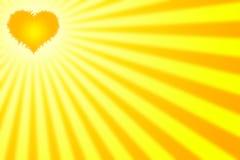 Corazón con los rayos Foto de archivo libre de regalías