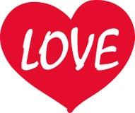 Corazón con palabra del amor ilustración del vector