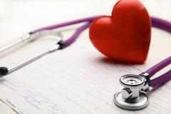 Corazón con un estetoscopio médico, aislado en el fondo blanco Imagen de archivo libre de regalías