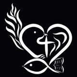 Corazón con un pájaro, una cruz, pescados, un libro y una llama, Christi abstracto ilustración del vector