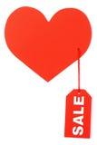 Corazón con una venta de etiqueta Imagen de archivo libre de regalías
