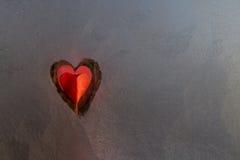 Corazón congelado de la ventana Imagenes de archivo