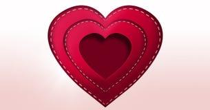 Corazón cosido de las tarjetas del día de San Valentín Foto de archivo