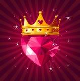 Corazón cristalino con la corona en fondo radial Fotografía de archivo