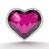 Corazón cristalino en la rejilla de plata en el fondo blanco Foto de archivo