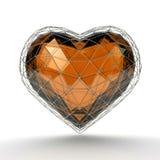 Corazón cristalino en la rejilla de plata en el fondo blanco Fotografía de archivo