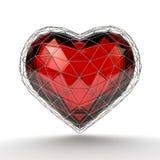 Corazón cristalino en la rejilla de plata en el fondo blanco Imagenes de archivo