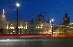 Corazón cuadrado de la noche de la libertad de Lodz Fotos de archivo libres de regalías