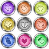Corazón cuidadoso, corazón y flecha, corazón atómico, amor en manos, unr Fotos de archivo libres de regalías