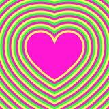 Corazón Día de tarjeta del día de San Valentín Ilusión óptica psychedelic retro Foto de archivo