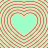 Corazón Día de tarjeta del día de San Valentín Ilusión óptica retro Imagenes de archivo