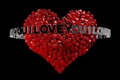 corazón 3D compuesto de los pequeños corazones y de las palabras TE AMO ilustración del vector