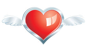 Corazón de acero con alas Foto de archivo libre de regalías