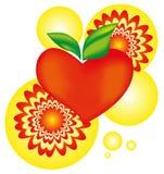 Corazón de Apple con símbolo de destello del arnament - vector el ejemplo Imagenes de archivo