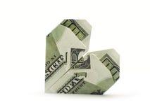 Corazón de cientos billetes de banco del dólar Foto de archivo
