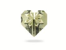 Corazón de cientos billetes de banco del dólar Imagen de archivo
