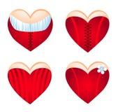Corazón de Corseted, conjunto del icono. Foto de archivo