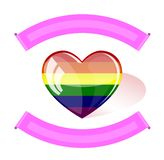 Corazón de cristal con la bandera del arco iris del seis-color stock de ilustración