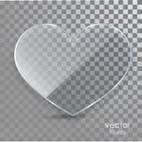 Corazón de cristal en un fondo transparente Imágenes de archivo libres de regalías