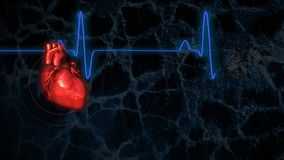 Corazón de derrota con el ECG Loopable ilustración del vector