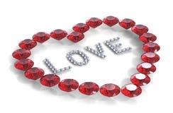 Corazón de diamantes con amor de la palabra Imagenes de archivo