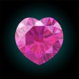 Corazón de diamantes rosados Día de la tarjeta del día de San Valentín s Vector Imágenes de archivo libres de regalías