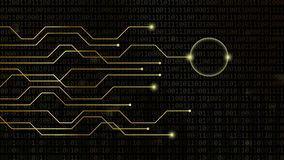 Corazón de Digitaces en concepto que fecha en línea del fondo de oro del código binario libre illustration