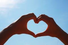 Corazón de dos manos Foto de archivo libre de regalías
