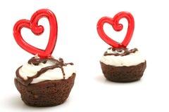 Corazón de dos mordeduras del brownie Imágenes de archivo libres de regalías