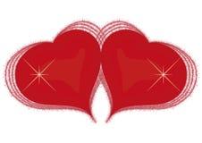 Corazón de dos rojos Imagen de archivo libre de regalías