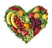 Corazón de frutas y verdura Fotos de archivo
