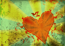 Corazón de Grunge y dimensiones de una variable florales Fotos de archivo libres de regalías