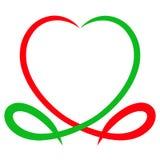 Corazón de líneas verdes y rojas, y la forma de un pescado simbólico libre illustration