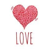 Corazón de la acuarela con el cordón handmade tarjeta Imágenes de archivo libres de regalías