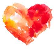 Corazón de la acuarela. Concepto - amor, relación, Foto de archivo libre de regalías