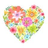 Corazón de la acuarela de flores Imágenes de archivo libres de regalías