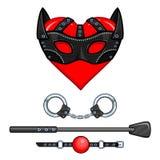 Corazón de la animación en una máscara Fije de juguetes eróticos: esposas, pila, mordaza de la bola libre illustration
