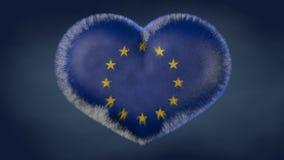 Corazón de la bandera de la unión europea stock de ilustración