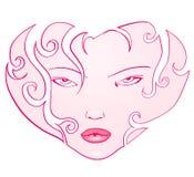 Corazón de la cara de la muchacha Imagenes de archivo